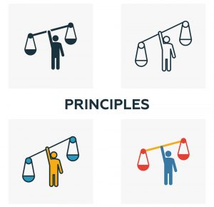 Principles icon set. Four elements in diferent styles from business ethics icons collection. Creative principles icons filled, outline, colored and flat symbols.